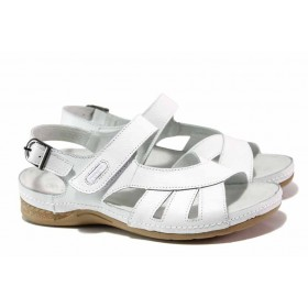 Дамски сандали - естествена кожа - бели - EO-15981