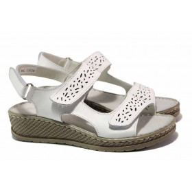 Дамски сандали - естествена кожа - бели - EO-15982