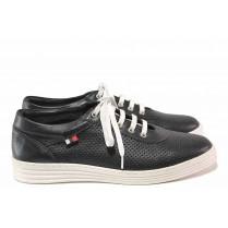 Равни дамски обувки - естествена кожа с перфорация - черни - EO-16246