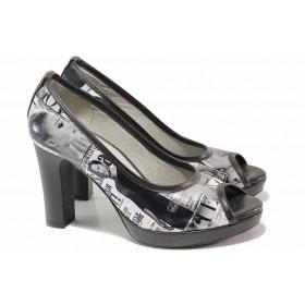 Дамски обувки на висок ток - естествена кожа - черни - EO-16250