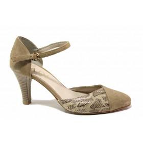 Дамски обувки на среден ток - естествен велур - бежови - EO-16251
