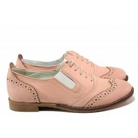 Равни дамски обувки - естествена кожа - розови - EO-16257