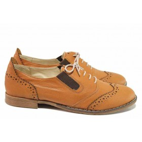 Равни дамски обувки - естествена кожа - кафяви - EO-16262