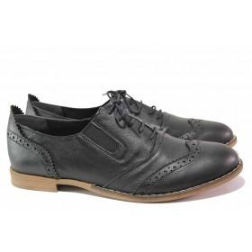 Равни дамски обувки - естествена кожа - черни - EO-16263