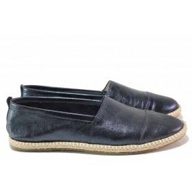 Равни дамски обувки - естествена кожа - сини - EO-16305