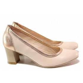 Дамски обувки на среден ток - естествена кожа - розови - EO-16307