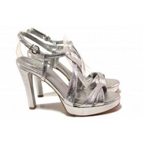 Дамски обувки на висок ток - естествена кожа - сребро - EO-16310