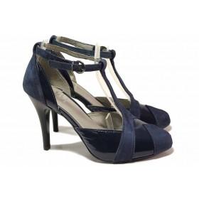 Дамски обувки на висок ток - естествена кожа с естествен лак - сини - EO-16311