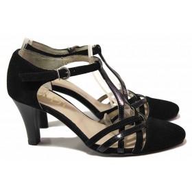 Дамски обувки на среден ток - естествен велур с естествен лак - черни - EO-16313