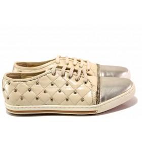 Равни дамски обувки - естествена кожа в съчетание с еко-кожа - бежови - EO-16330