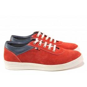 Равни дамски обувки - естествен велур - червени - EO-16332