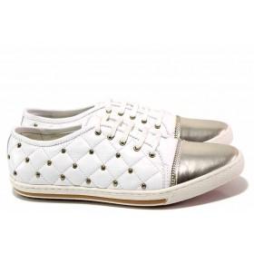 Равни дамски обувки - естествена кожа - бели - EO-16333