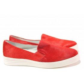Равни дамски обувки - естествен велур - червени - EO-16337