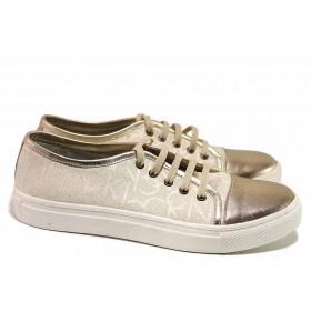 Дамски спортни обувки - естествена кожа - бежови - EO-16338
