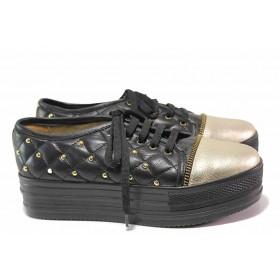 Дамски спортни обувки - естествена кожа - черни - EO-16340