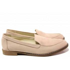 Равни дамски обувки - естествена кожа - розови - EO-16348