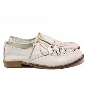 Равни дамски обувки - естествена кожа с перфорация - лилави - EO-16349