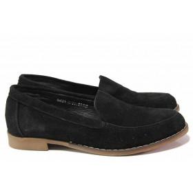 Равни дамски обувки - естествен велур - черни - EO-16350