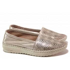 Равни дамски обувки - естествена кожа с перфорация - розови - EO-16353