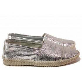 Равни дамски обувки - естествена кожа - сиви - EO-16355