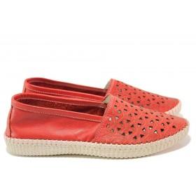 Равни дамски обувки - естествена кожа - червени - EO-16229