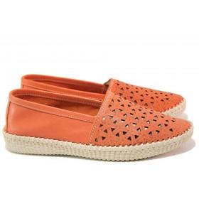 Равни дамски обувки - естествена кожа - корал - EO-16231