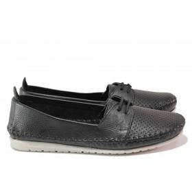 Равни дамски обувки - естествена кожа - черни - EO-16233