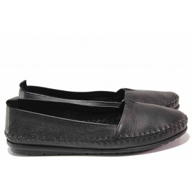 Равни дамски обувки - естествена кожа - черни - EO-16218