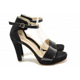 Дамски сандали - естествен велур с естествен лак - черни - EO-16227
