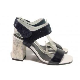 Дамски сандали - естествена кожа - сини - EO-16226