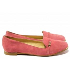 Равни дамски обувки - естествен велур - розови - EO-16223