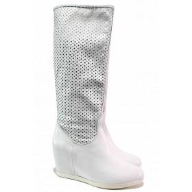 Летни ботуши - естествена кожа - бели - EO-16191