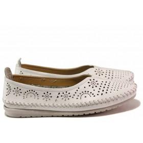 Равни дамски обувки - естествена кожа с перфорация - бели - EO-16300