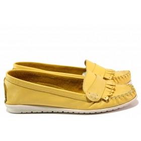 Мокасини - естествена кожа - жълти - EO-16298