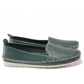 Равни дамски обувки - естествена кожа с перфорация - зелени - EO-16296