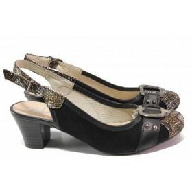 Дамски обувки на среден ток - естествена кожа с естествен велур - черни - EO-16295