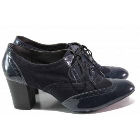 Дамски обувки на висок ток - естествен велур с естествен лак - тъмносин - EO-16292
