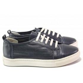 Равни дамски обувки - естествена кожа - сини - EO-16288