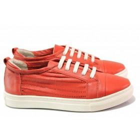 Равни дамски обувки - естествена кожа - червени - EO-16287