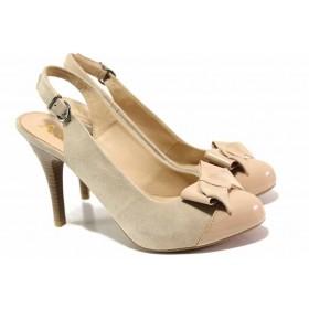Дамски обувки на висок ток - естествен велур - бежови - EO-16283