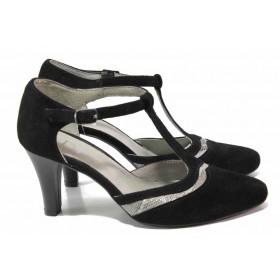 Дамски обувки на висок ток - естествен велур - черни - EO-16281