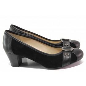 Дамски обувки на среден ток - естествена кожа - черни - EO-16279