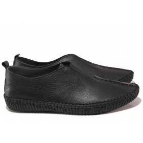 Равни дамски обувки - естествена кожа - черни - EO-16273