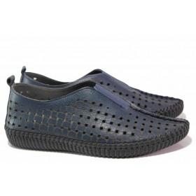 Равни дамски обувки - естествена кожа - тъмносин - EO-16270