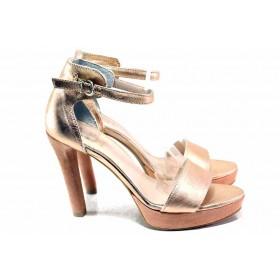 Дамски сандали - естествена кожа - розови - EO-16267