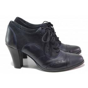Дамски обувки на висок ток - естествена кожа с естествен велур - тъмносин - EO-16236