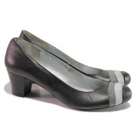 Дамски обувки на среден ток - естествена кожа - черни - EO-16237