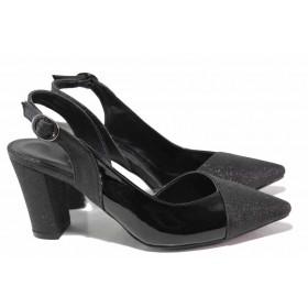 Дамски обувки на висок ток - висококачествена еко-кожа - черни - EO-16073