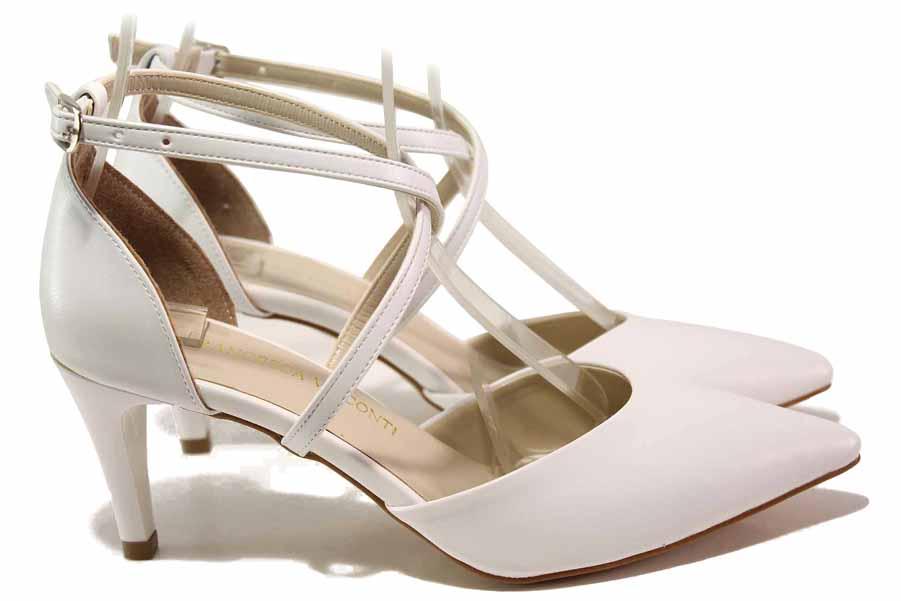 Дамски обувки на висок ток - висококачествена еко-кожа - бели - EO-16072