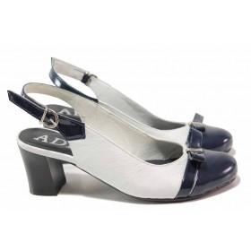 Дамски обувки на среден ток - естествена кожа с естествен лак - бели - EO-16198